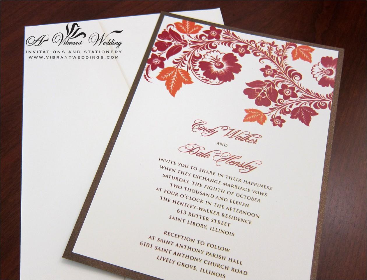 red and orange wedding invitation