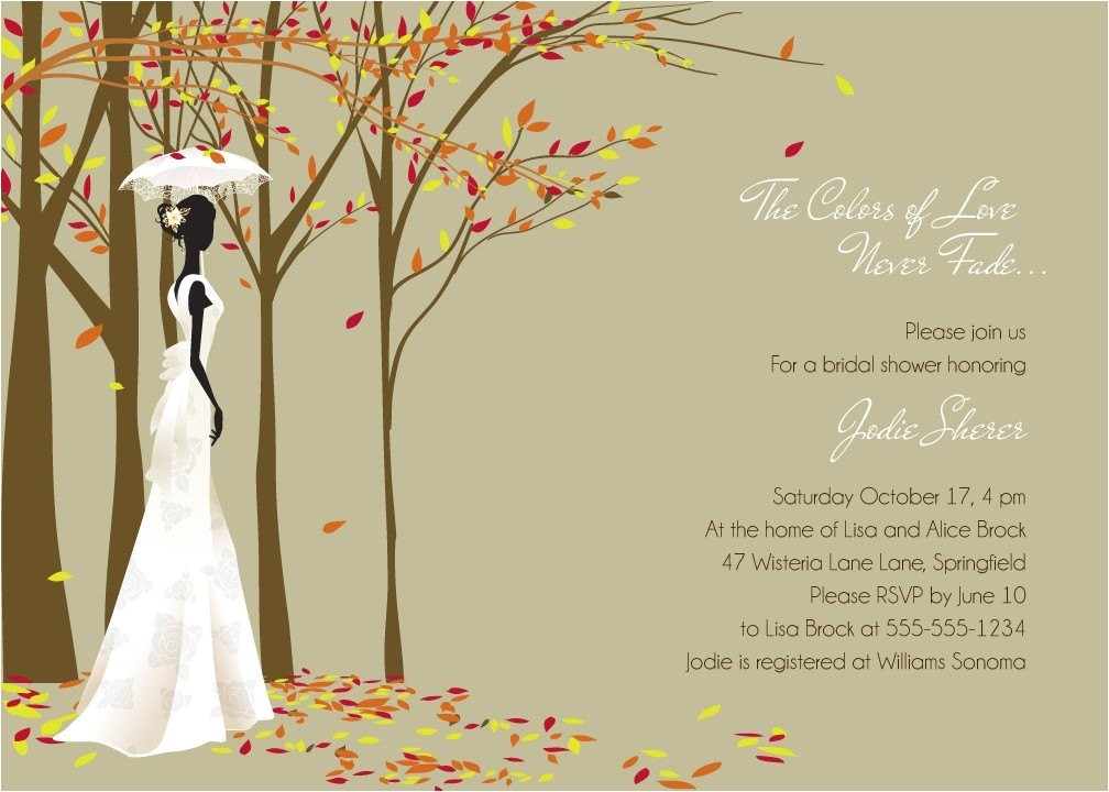 Fall themed Wedding Shower Invitations Fall In Love Autumn themed Bridal Shower Invitations Print