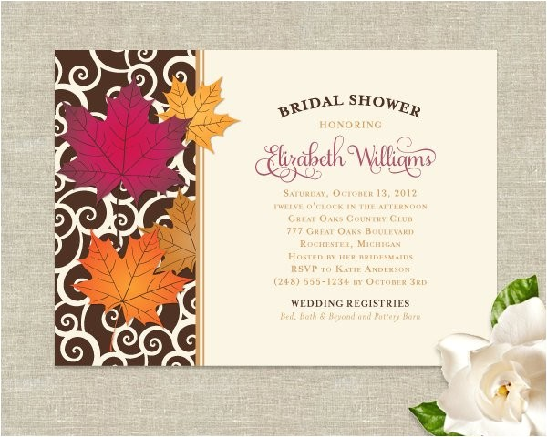 fall leaves theme wedding bridal shower