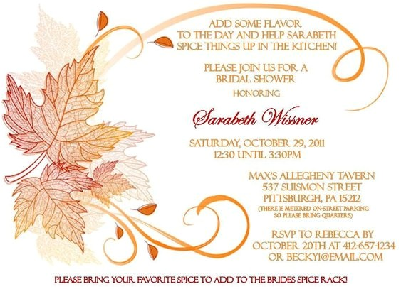 fall themed bridal shower invitation