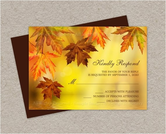 diy fall wedding rsvp cards with falling