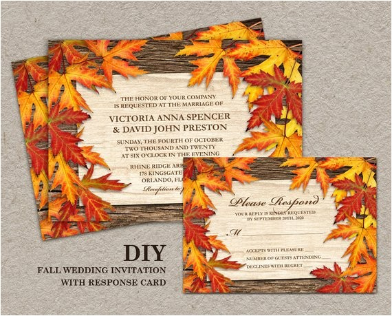 diy printable fall wedding invitations