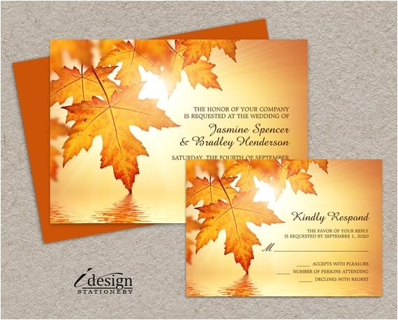 fall wedding invitations and rsvp cards