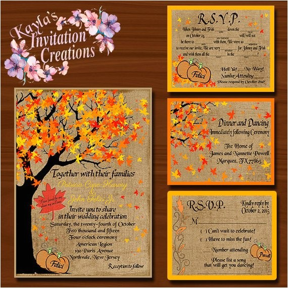 fall wedding invitations rsvps reception