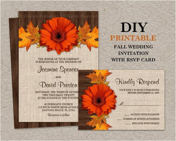 diy fall wedding invitations with rsvp