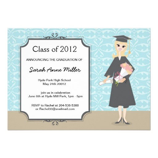 girls fancy graduation celebration invitations 161326156096924349