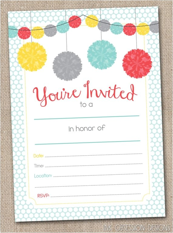 fill printable party invitations instant download