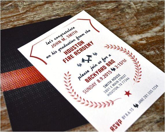 fire academy graduation invitation diy