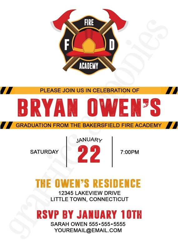 fire academy graduation invitation w