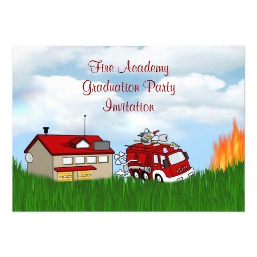 fire academy graduation party invitation fireman 161861384042730173