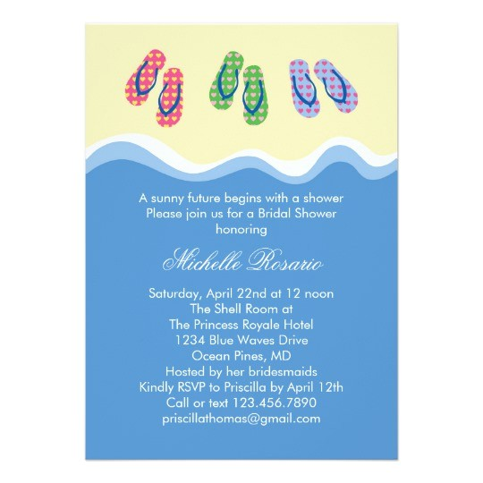 flip flops beach bridal shower invitation 161190810043272281