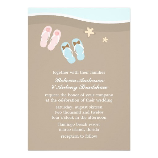 flip flops beach wedding invitations 161992935819773565