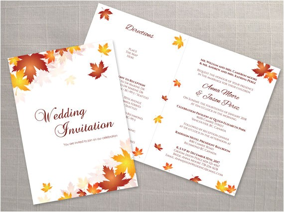 diy printable wedding folded invitation card template editable ms word file 5 x 7 instant download red orange fall leaves