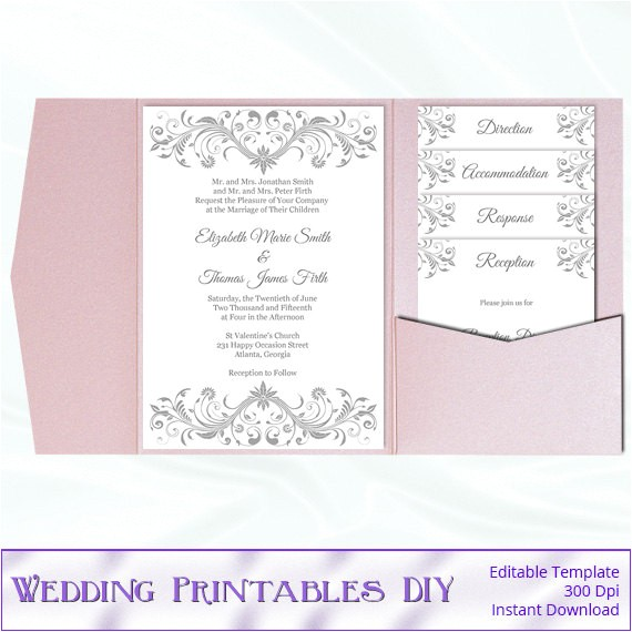 pocket fold wedding invitation set diy