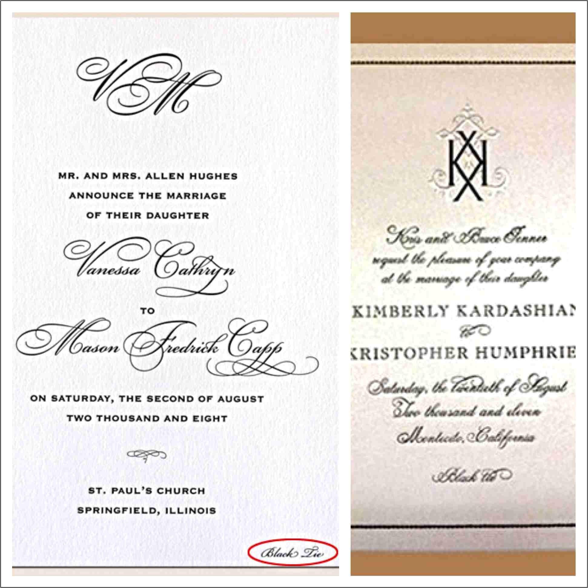 formal attire on wedding invitation 011819936