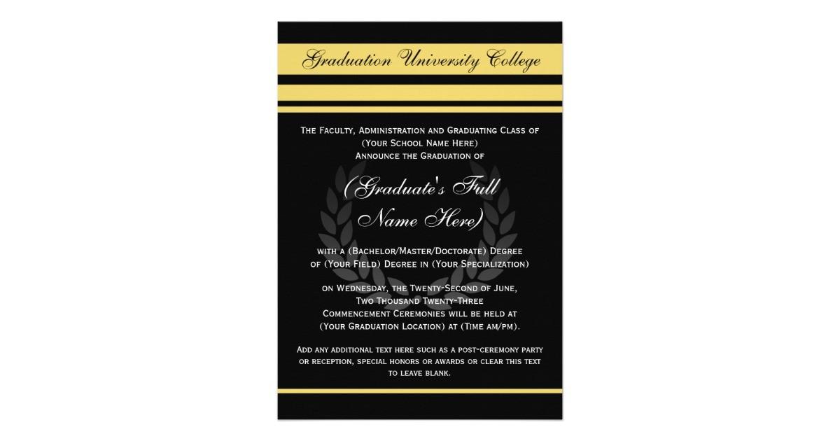 formal college graduation announcements black 161444829360719805