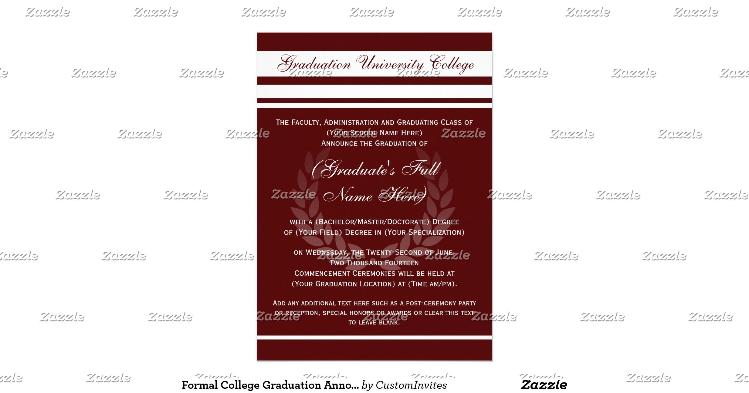 formal college graduation announcements maroon 161178126605710230