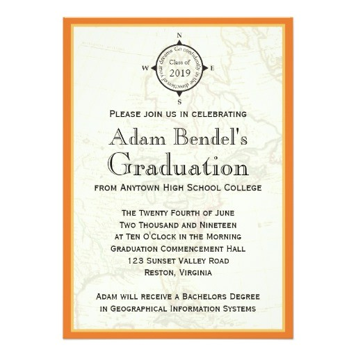 formal orange compass map graduation announcements invitation 161021267855981552