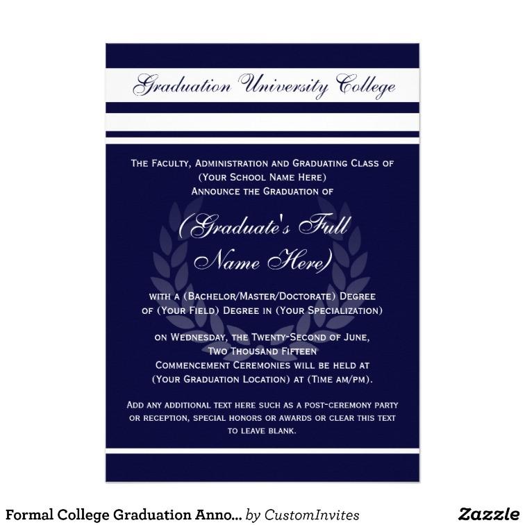 formal college graduation announcements blue 161737786843947088