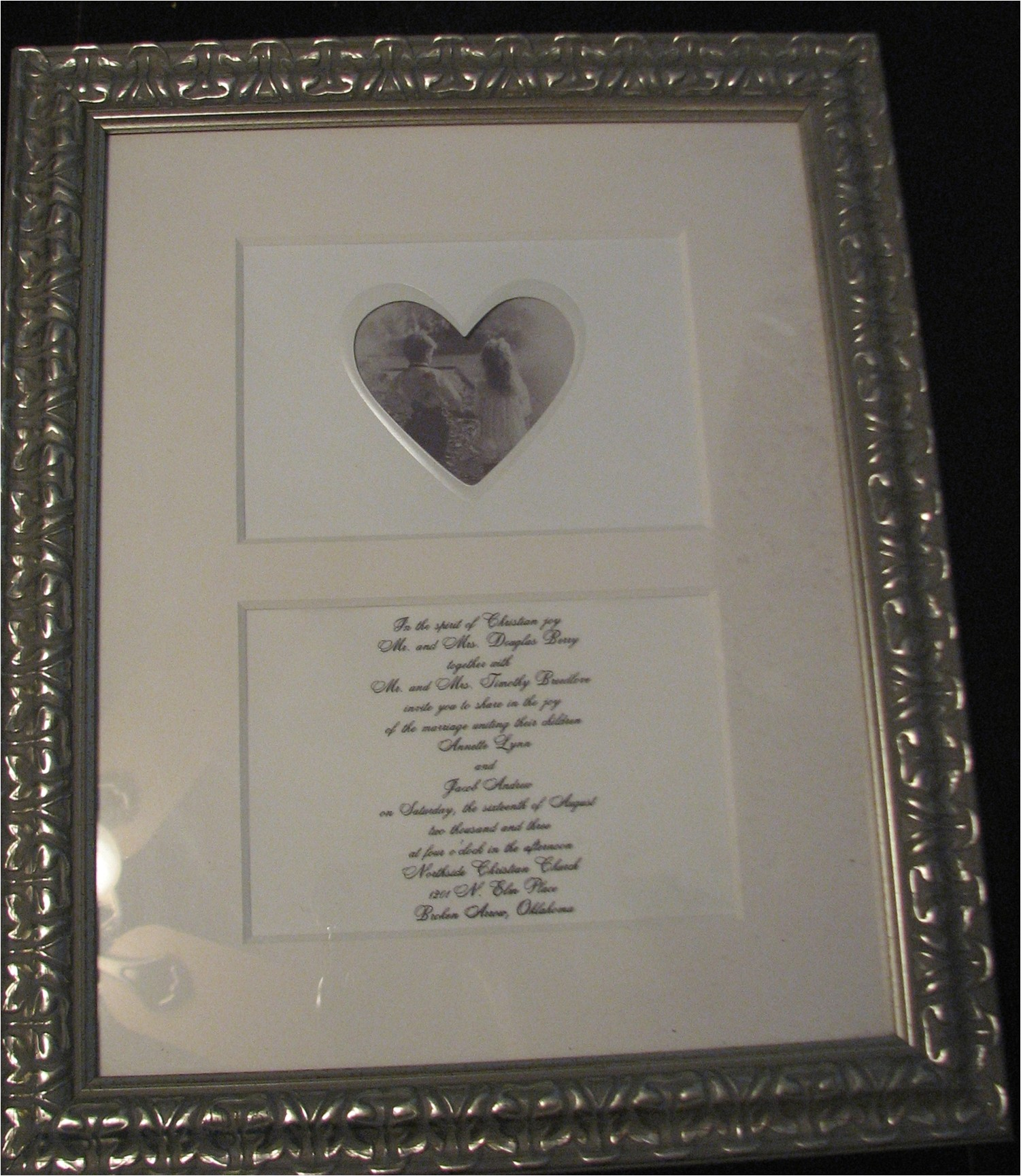 framing wedding invitations