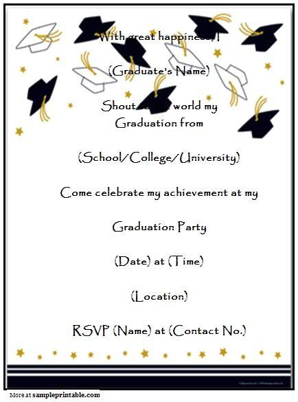 Free Downloadable Graduation Invitation Templates Homemade Graduation Party Invitation Printable Homemade