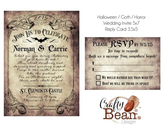 custom vintage victorianhalloweengoth wedding invitation reply card printable diy