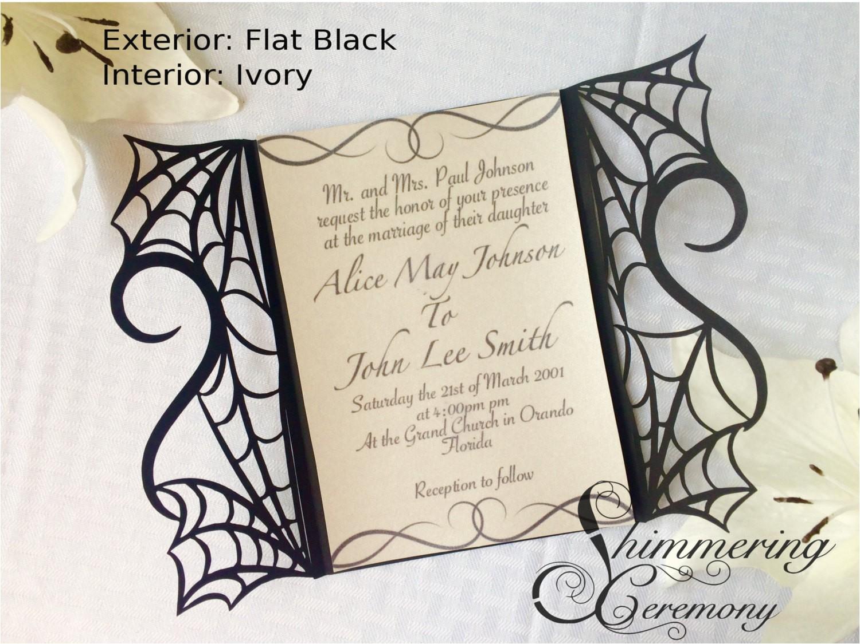 gothic spider web halloween wedding invitation laser cut gatefold spooky love heart party