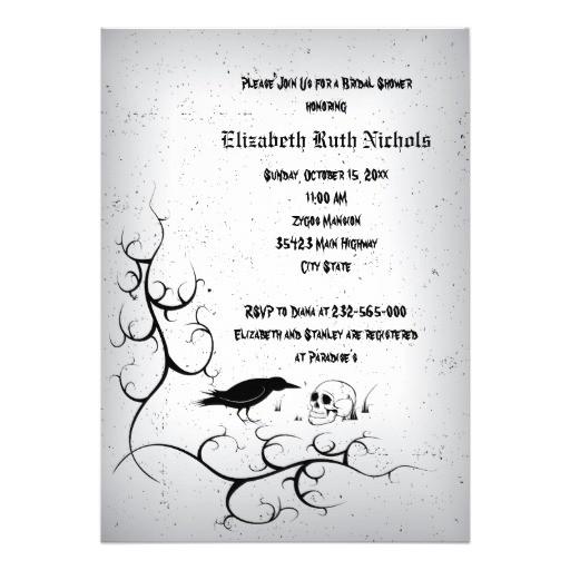 raven and skull gothic wedding bridal shower invitation 161092592072128282