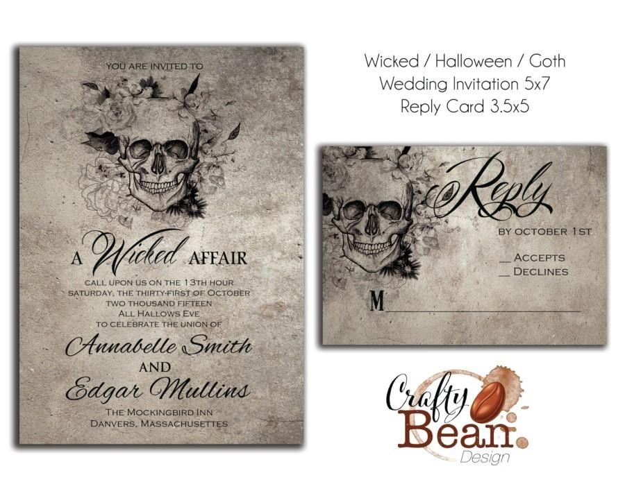 wicked halloween horror gothic wedding invitation diy printable