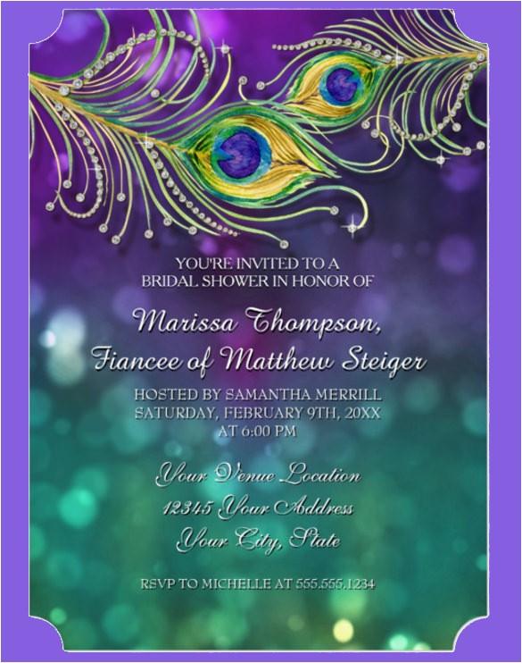 sample peacock wedding invitation