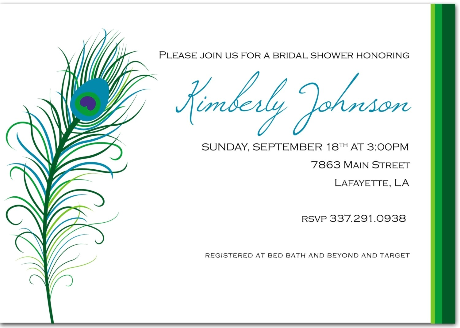 peacock themed wedding invitations template