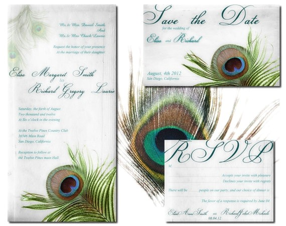 peacock wedding invitation printable templat