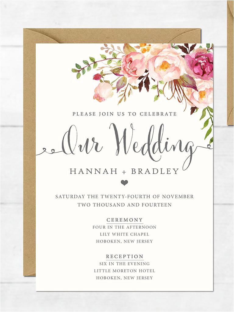 Free Wedding Invite Samples Wedding Invitation Printable Wedding Invitation