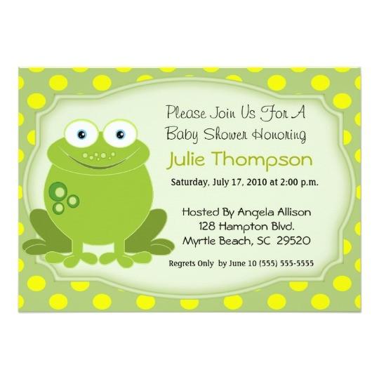 frog baby shower invitation 161207284456602913