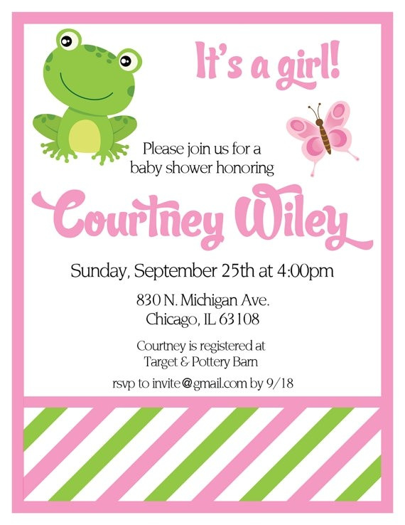 frog baby shower invitations