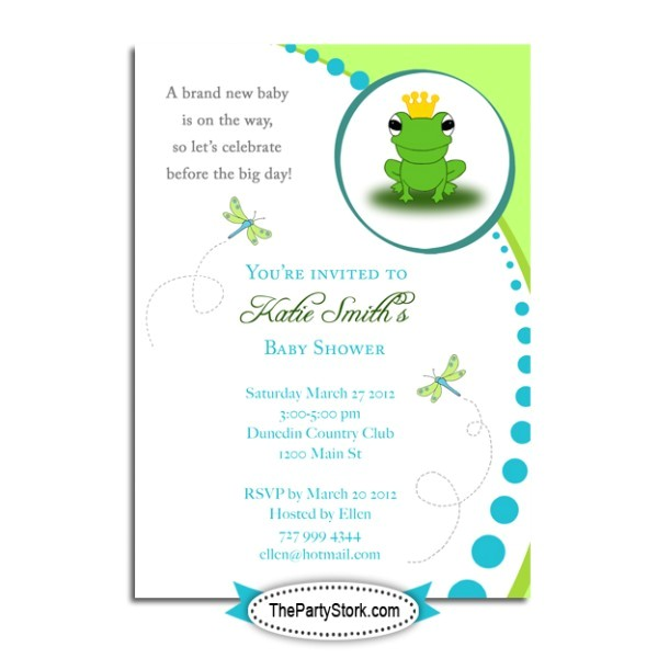 frog baby shower invitations template