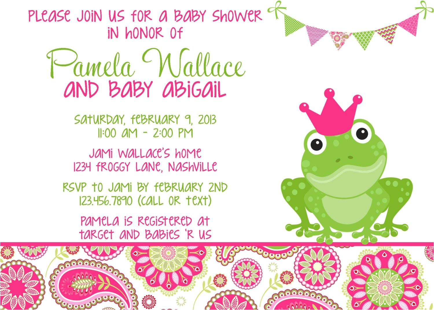frog pink green paisley baby shower