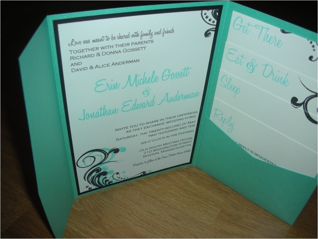 pocketfold wedding invitation complete