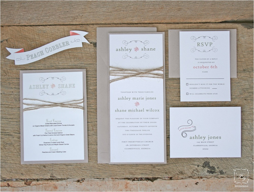 rustic twine wedding invitation set