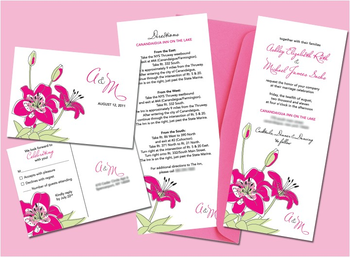 stargazer lily wedding invitation set