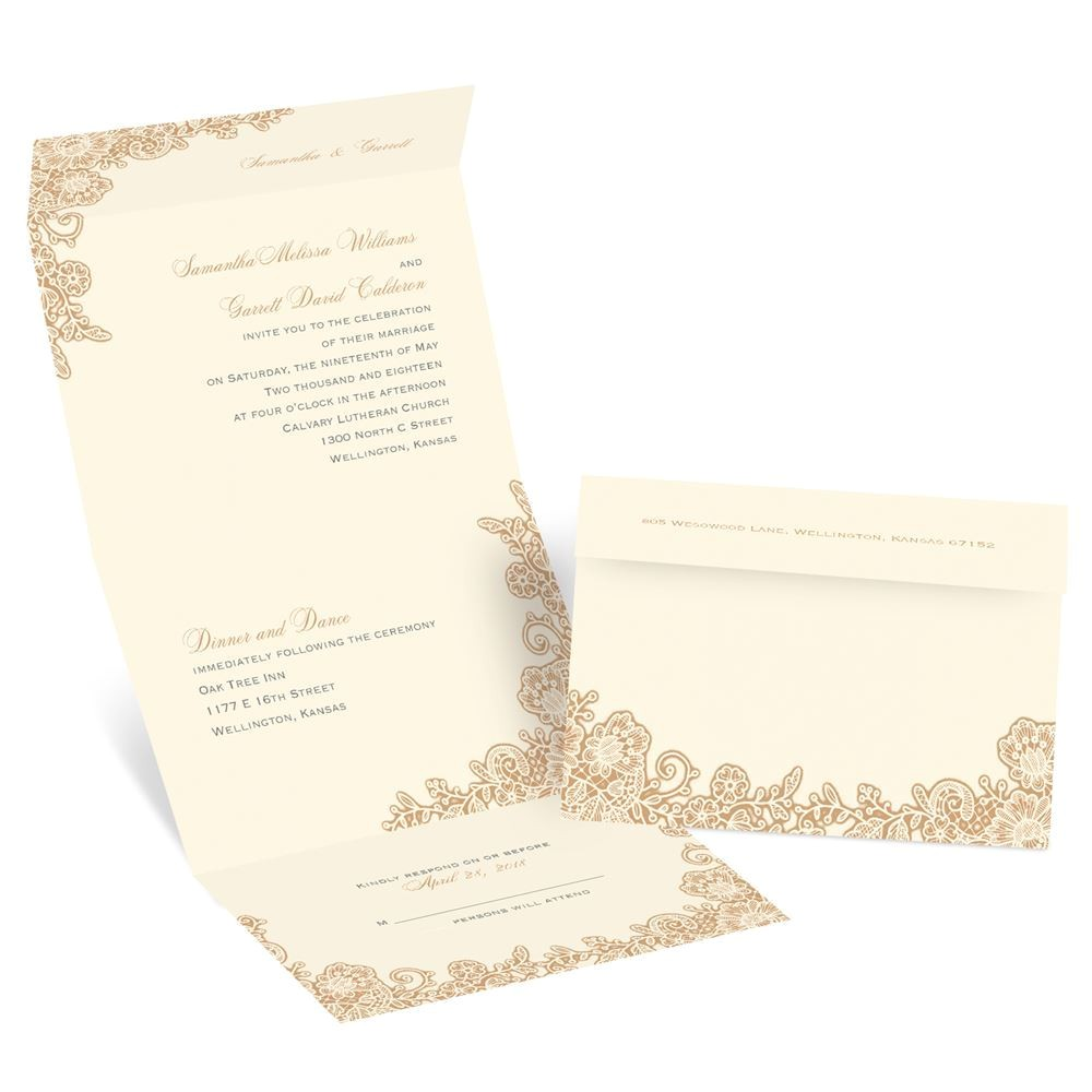 lacy corners seal and send invitation