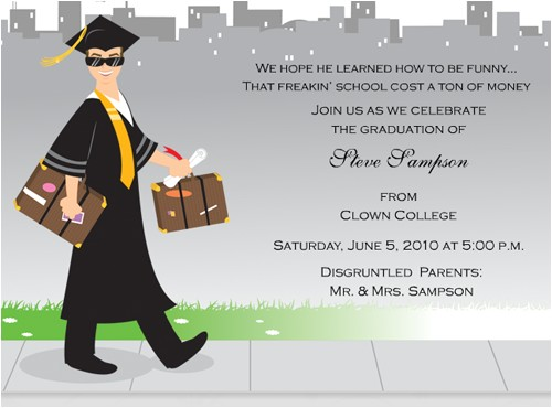 Funny College Graduation Party Invitation Wording Funny Graduation Invitations Oxsvitation Com