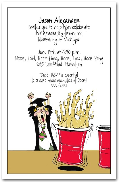 humorous graduation party invitation wording