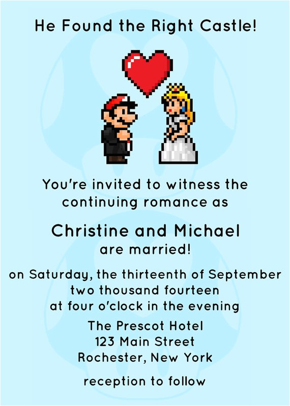 video game wedding invitation jpeg printable by spongeshoe on etsy