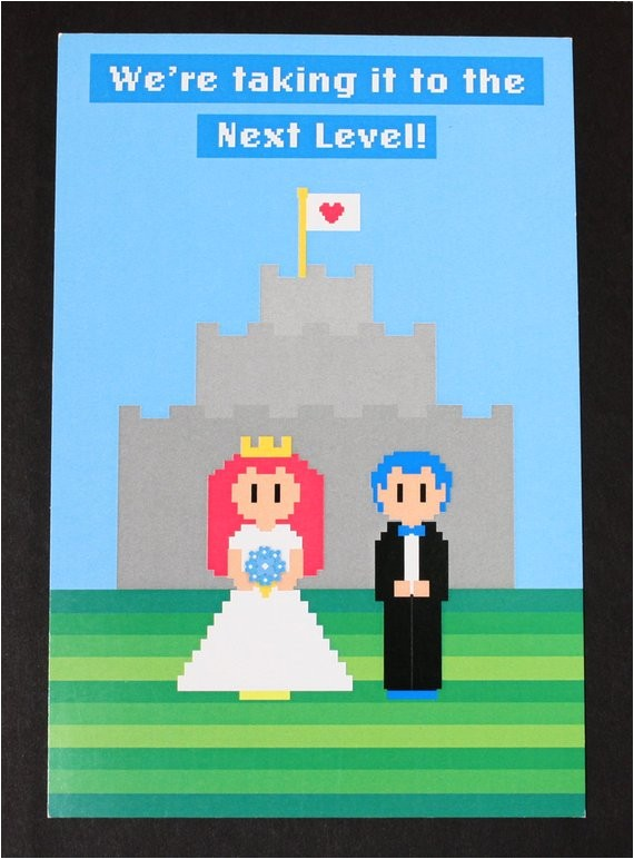 video game wedding invitation postcard