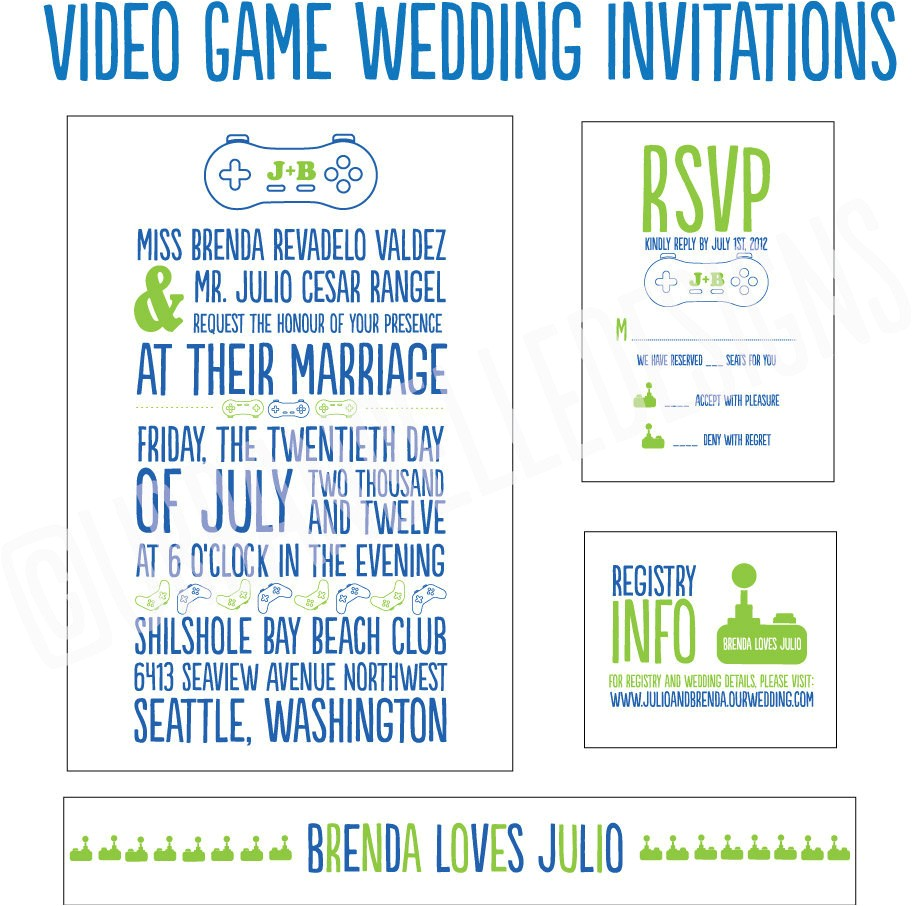 Gaming Wedding Invitations Video Game Wedding Invitations