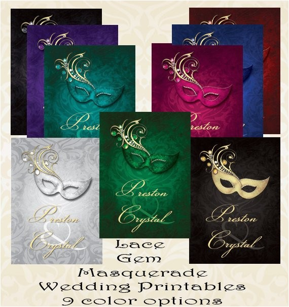 Gems Wedding Invitations Lace Gem Masquerade Wedding Invitation Digital Printable or
