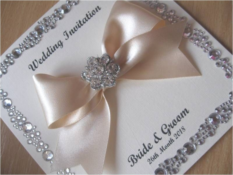 luxury silver wedding invitation gem border detail withwithout box 8567 p