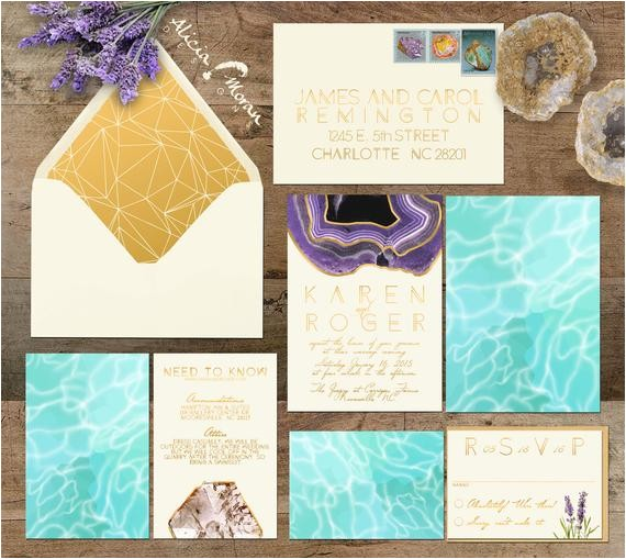 wedding invitation suite rocks minerals
