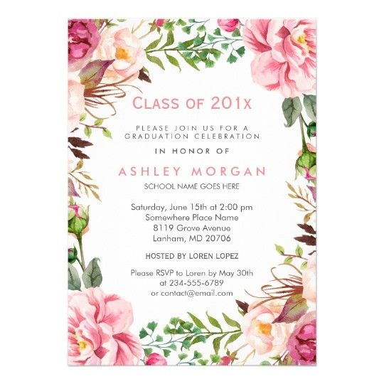 girly floral chic class of 2017 graduation party card 256745516358610915